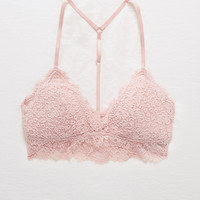 Aerie Romantic Lace Padded Triangle Bralette, Bold