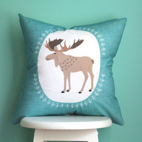 woodland moose pillow cover: a little light prints collaboration
