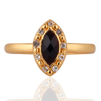White Topaz Gemstone Onyx 925 Sterling Silver Yellow Gold Plated Stackable Ring