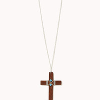 Wooden Cross Necklace   FOREVER 21 - 1023627022