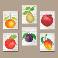 Watercolor Food KITCHEN Wall Art, Kitchen Wall Decor, Fruit Vegetables Kitchen Food Decor, Home Set of 6 Canvas or Prints Decor Wall Decor