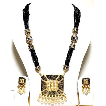 Square Pendant with black crystal bead Long chain Necklace and Earrings set