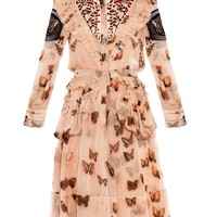 Heart and butterfly-print layered dress