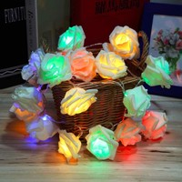 2016 Hot Sale Fashion Holiday Lighting 20LED Novelty Rose Flower String Lights Romantic Fairy Wedding Party Christmas Decoration