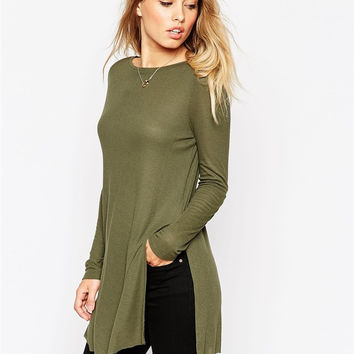 Army Green Sleeve Shirt With Slit