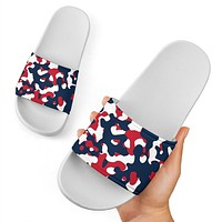 Red and Navy Camo Slide Sandals