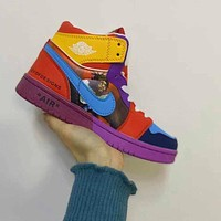 Nike Air Jordan 1 AJ1 OW Mid Color Matching Sneakers Basketball Shoes