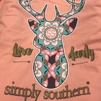 Simply Southern Love Deerly Long Sleeve- Melon