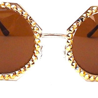 Octagonal Stud Sunnies in Gold Rush
