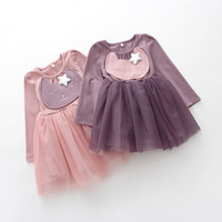 2017 New Pink Purple Long Sleeve Christmas Dresses Girls Dress Children Clothing  Wedding Party Dresses