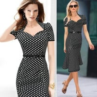 OL Summer Dresses Women Dress Mini Dresses For Party Women Sexy New Summer Short Sleeve Mermaid OL Polka Dot V-neck Bodycon Dresses 9836#