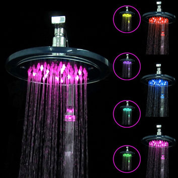 8 inch Stainless Steel Rainfall Bathroom Shower Head with 7 Color Changing LED Flash Light - Default