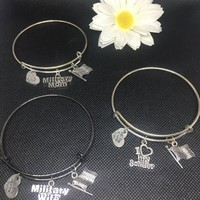Military Mom, Military Wife , I Love My Soldier Bangle