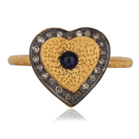 High Quality Gemstone Sapphire Sterling Silver Heart Shaped Wedding Ring Jewelry