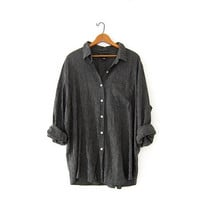 vintage black slouchy shirt. gingham button up blouse. modern & minimalist. oversized pocket shirt