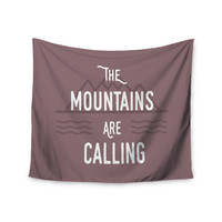 """Jackie Rose """"The Mountains Are Calling"""" Purple Typography Wall Tapestry"""