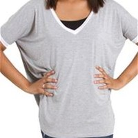 Piko V-Neck Ringer Ringer Short Sleeve Top in Heather Grey T2801