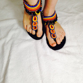 New Style/The African shop/Masai/Fashion/Handmade Sandals/African Clothing/Leather shoes/ Beaded Leather Sandals Size US 8 - 8 1/2