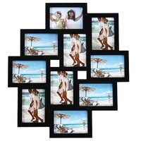 Adeco [PF0171] 10-Opening Black Wood Wall Hanging Collage Picture Photo Frame - Holds 3.5x5 Inches Photos, Home Decor