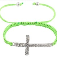 2 Pieces of Green Lace Style Iced Out Cross Bracelet with Beaded Disco Balls Macrame Shamballah