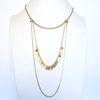 Work Hard Play Hard Layered Necklace In Gold