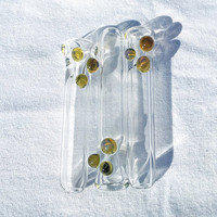 Simple Clear Durable Glass One Hitter Chillum Pipes with Green Bumps - 3 Pack
