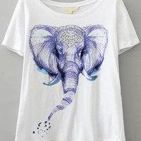 White Short Sleeve Elephant Print Graphic T-Shirt