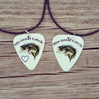 His Great Catch and Her Great Catch bass fish hook heart Guitar pick matching necklaces for couples love girl guy camo