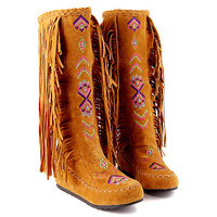 National Foral Fashion Women's Fringed Boots Flat Heel Thigh High Boots Spring And Autumn Casual Boots Single Increased