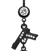 Blackline Handgun & Cuff Sparkle Belly Button Ring
