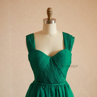 Red/Green Chiffon Long Bridesmaid Dress/Prom Dress/Party Dress Sweetheart Neckline with Straps