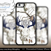 Navy Antlers Monogram iPhone 5C 6 Plus Case Browning iPhone 5s iPhone 4 case Ipod White Camo Deer Personalized Country Inspired Girl