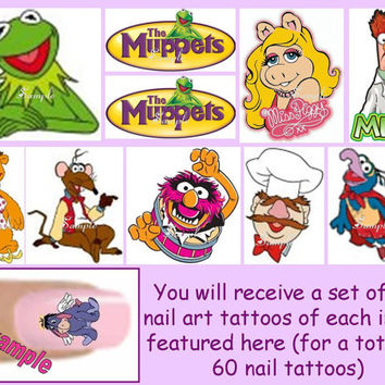60 x Finger / Toe Nail Art Decals The Muppets Miss Piggy Kermit the Frog Gonzo Beaker & Free Gift