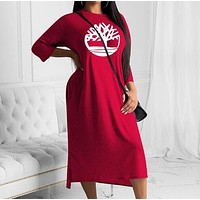 Timberland Fashion Women Casual Print Long Sleeve Dress