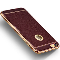 FLOVEME Luxury Case For Apple iPhone 7 6 6s Plus 6 6s Case Gold Aluminum Metal Leather Hard Back Cover For iPhone 6 6s Case