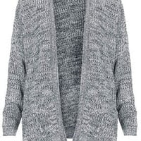 Tweedy Rib Slouchy Cardigan - Black