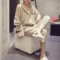 """Adidas"" Women Casual Fashion Letter Print Long Sleeve Zip Cardigan Hooded Coat Trousers Set Two-Piece Sportswear"