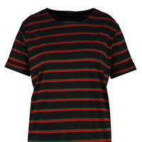 Plus Jill Stripe Roll Up Sleeve T Shirt | Boohoo