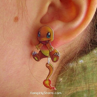 Charmander Pokemon Clinging earrings Handmade kawaii gamer two part front and back post earrings