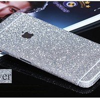 Supstar Luxury Bling Crystal Diamond Sticker Full Body Skin Wrap Covered Edges Vinyl Decal Screen Protector Film for Apple iPhone 6/6s - Black