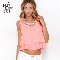 casual piano pleated insert tank solid crop top women slim t-shirt