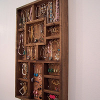 Jewelry Organizer, Earring and Necklace Display Handmade Wood Wall Art