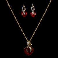 18K Gold Red Crystal Heart Earring & Necklace Set