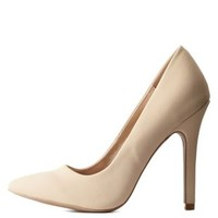 Nude Single Sole Pointed Toe Pumps by Charlotte Russe