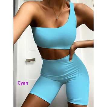 Summer new women's sexy hollow hip  short jumpsuit one shoulder vest Cyan