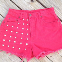 High Waisted Studded Red Shorts Size 8 by DenimAndStuds on Etsy