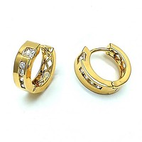 Gold Layered 02.63.1526 Huggie Hoop, with White Cubic Zirconia, Polished Finish, Golden Tone