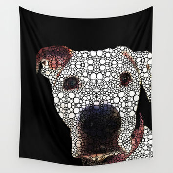 Stone Rock'd Dog 2 by Sharon Cummings Wall Tapestry by Sharon Cummings