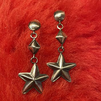 Stars, Triangles, and Circles Long Genuine Sterling Silver Earring