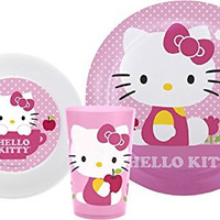 Zak! Designs Mealtime Set with Plate, Bowl and Tumbler featuring Hello Kitty, Break-resistant and BPA-free plastic, 3 Piece Set, Designs May Vary